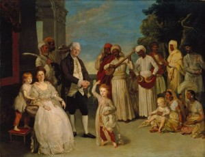 Painting by Johann Zoffany (1733-1810) of the family of Chief Justice Elijah Impey and Mary Impey in Calcutta (India) in 1783_ Marian Impey (b. 1778) is shown dancing to Indian music